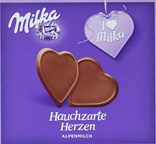 Milka Hauchzarte Herzen Alpenmilch - Hauchdünne, herzförmige Täfelchen aus Schokolade - 10 x 130g