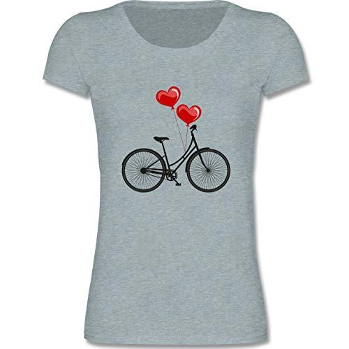 Up to Date Kind - Fahrrad Herz Luftballons - 122-128 (7-8 Jahre) - Blau/Grau meliert - F288K - Mädchen T-Shirt