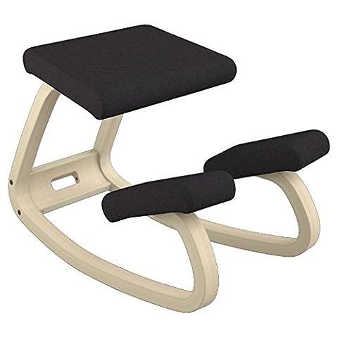 Varier Variable Balans Chair, Natural Lacquered Wood, Black