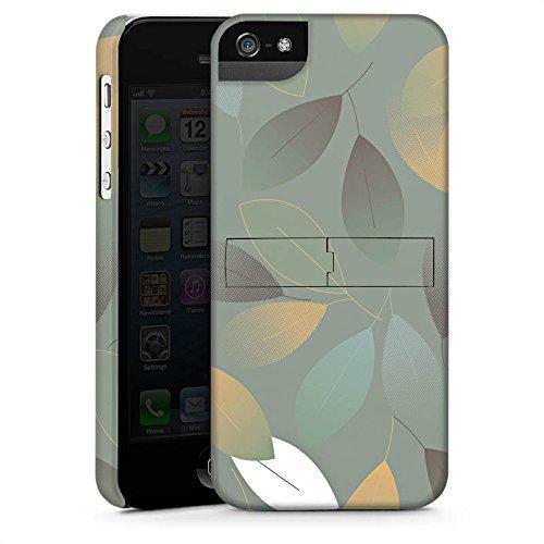 Apple iPhone 4 Housse Étui Silicone Coque Protection Automne Feuilles Vert CasStandup blanc