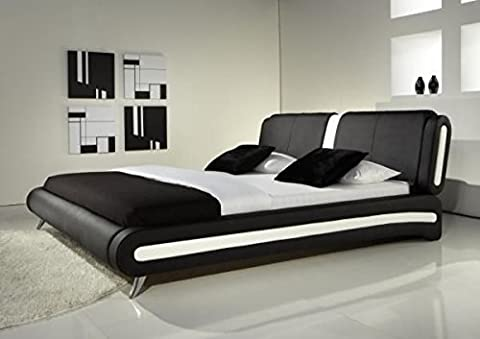 IJ Interiors–Modernes Doppelbett oder King Size Bett Leder schwarz &