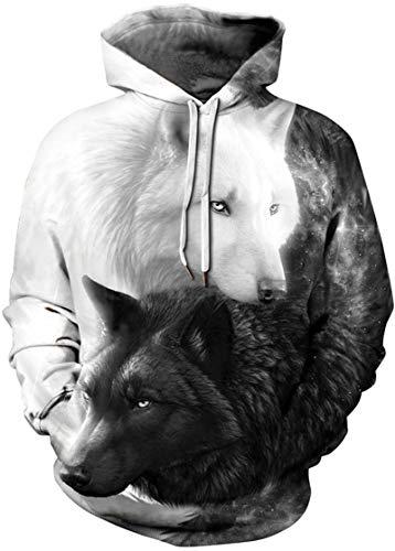 EUDOLAH Herren Slim Fit Kapuzenpullover 3D Druck Hoodie Weihnachten Winter Bunt mit Tasche (Größe XXL / 3XL, A-A-Schwarz und Weiß Wölfe) (Schwarz Anime Paare Und Weiß)