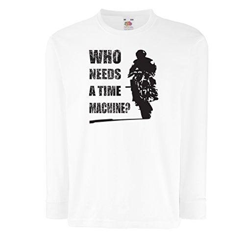 Kinder-T-Shirt mit langen Ärmeln Motorradkleidung (9-11 years Weiß Mehrfarben)