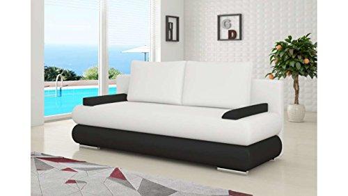 JUSTyou Milo Canapé lit Sofa Simili Cuir (lxLxH): 95x205x90 cm Blanc Noir