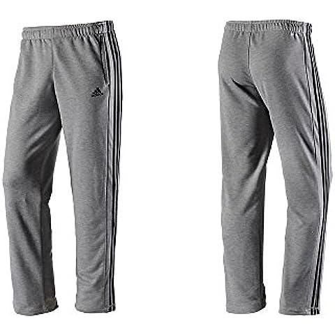 adidas Uomo Pantaloni Allenamento Sport Essentials 3-Stripes Francese Terry Open Hem - grigio melange, XL