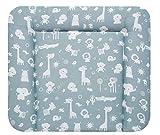 ALVI Wickelauflage Wiko Kuschel 70x85 cm/weiche Wickelunterlage/Wickeltischauflage Folie phthalatfrei beschichtet/Auflage für Wickeltisch ab 0 Monate, Design:Zootiere puderblau