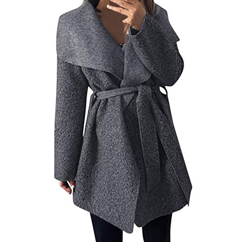 (i-uend 2019 Damen Mantel,Herbst Winter Unregelmäßige Revers Neck Outwear Mantel Cinch Taille mit Gürtel Mantel Strickjacke Mantel Outwear)