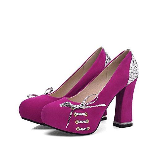AllhqFashion Femme Tire Rond à Talon Haut Couleurs Mélangées Chaussures Légeres Cramoisi