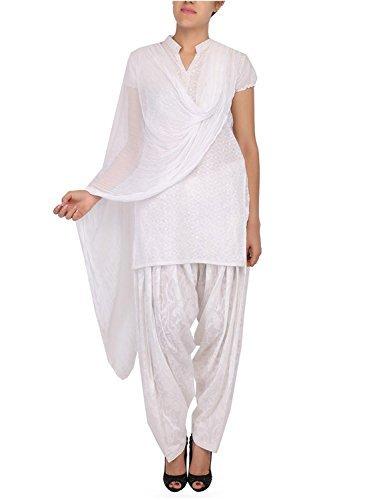 Womens Cottage Women's White Cotton Jacquard Semi Patiala Salwar & Chiffon Dupatta Stole Set with Lace