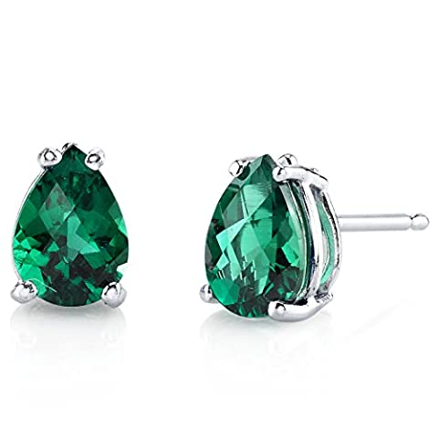 Revoni 14ct White Gold Pear Shape 1.25 Carats Emerald Stud Earrings