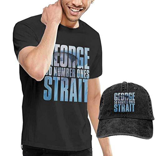 Thimd Herren T-Shirt und Kappe Schwarz, George Strait 50 Number Ones T-Shirt Washed Denim Baseball Dad Cap Black -