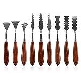 Gasea 9PCS coltelli in acciaio INOX palette pittura miscelazione disegno Scrapers set di attrezzi per pittura a olio accessori color mixing