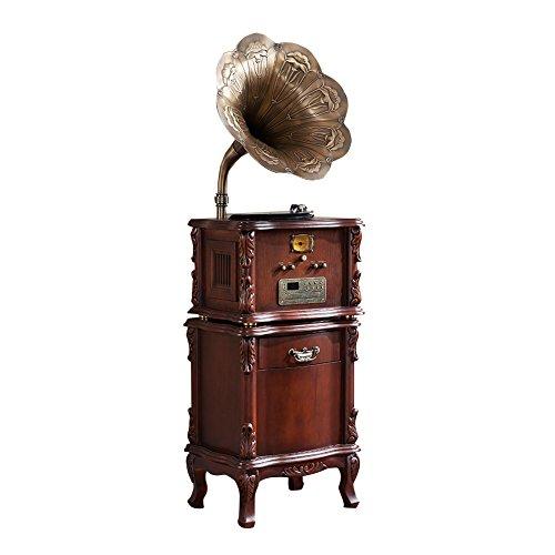 Sitang Grammophon Retro-Vinyl-Plattenspieler antike großes Horn Radio Drehscheiben Drehscheiben MLG668A