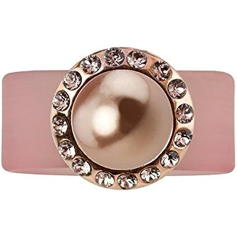 LUX strass e anello caboucho Vintage Rose, placcato oro rosa