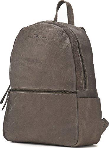 URBAN FOREST, Leder Rucksack, Rucksäcke, Schultaschen, Freizeit-Taschen, 38,5 x 30,5 x 12 cm (B x H x T) Grau