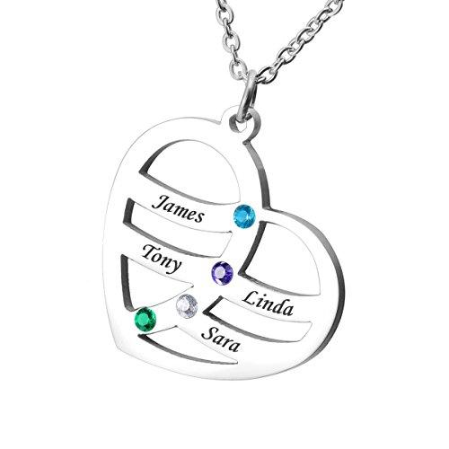 Housweety Gravur personalisierbar Herz Halskette Familie Anhänger BFF Andenken Valentine 's Day Geschenk mit Geburtssteine–Custom Made & personalisierbar mit 4Namen.