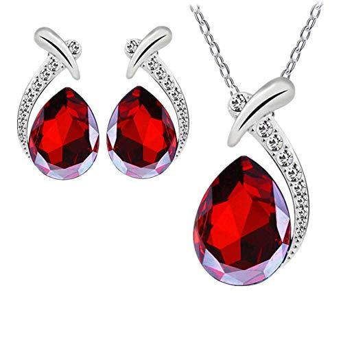 Liquidazione offerte, fittingran ciondolo di cristallo di gioielli di disegno elegante delle gocce dell'acqua delle donne dell'orecchino della collana della signora delle rooso (rooso)