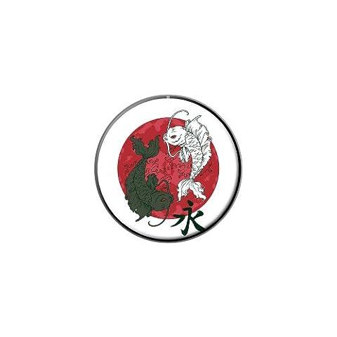 Yin et Yang Red Moon–Japonaise Asiatique Carpe Koi poisson métal à revers A T-shirt Sac à main Pin Cravate Pin Back