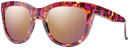 Smith Sidney Sonnenbrille Damen Red Yellow Tortoise/Brown Gradient, Damen, Sidney, Violet Havana/Rose Gold Mirror