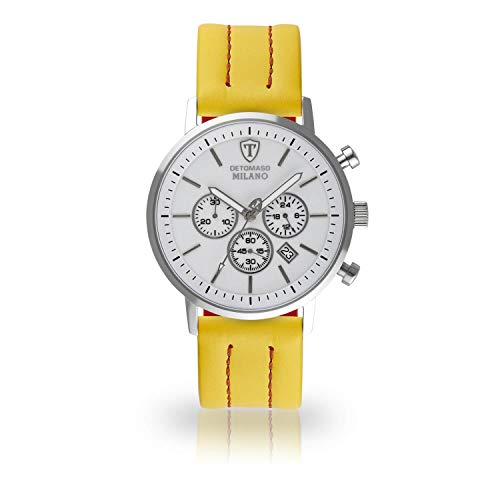 DETOMASO Milano XL Herren-Armbanduhr Chronograph Analog Quarz gelbes Lederarmband weißes Zifferblatt DT1082-E-960