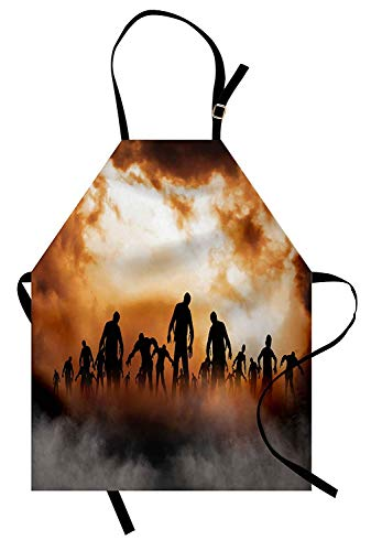 on Zombies Dead Men Walking Body in The Doom Mist at Night Sky Haunted Theme Print Unisex Kitchen Bib Apron with Adjustable Neck for Cooking Baking Gardening Orange Black ()