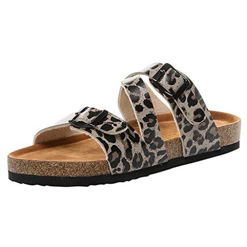 Zapatillas de Corcho para Mujer, Sandalias y Zapatillas de Playa.Moda para Mujer Correa de Hebilla Doble Zapatos de Playa de Verano Chanclas de Corcho Planas Cómodo riou