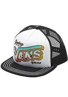 df2be41796 Vans Off The Wall Women s Lawn Party Trucker Hat Cap - Black White