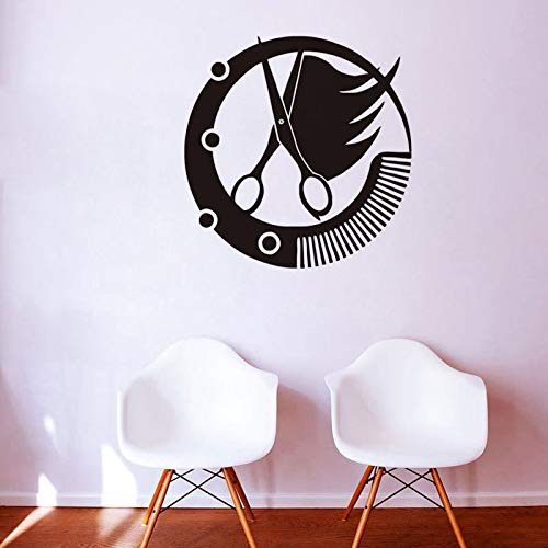 Hair Spa Woman Stylist Retro Mädchen Wandtattoo Beauty Salon Vinyl Aufkleber Friseure Barbershop VintageWandaufkleber 57x59 cm
