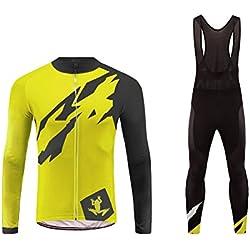 Future Sports UGLYFROG Bike Wear Herren Radtrikot 3D Kissen-Set Mountainbike-Bekleidung + Hose atmungsaktiv und elastisch lange Radfahrer-Strumpfhose für den Frühling