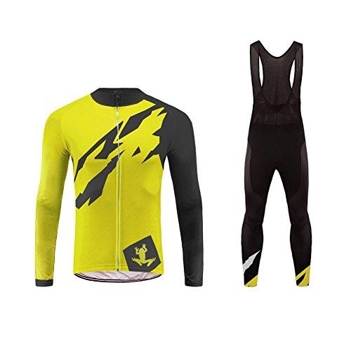Uglyfrog Uomo Traspirante Asciugatura Veloce Confortevole Maglia Manica Lunga + Pantaloni Imbottiti Vestiti di Ciclismo Set CXMX01