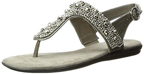 A2 by Aerosoles Women's Glee Chlub Flat Sandal, Silver/Metallic, 7.5
