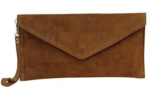 AMBRA Moda Damen Wildleder Envelope Clutch Handschlaufe Handtasche Schultertasche Unterarmtasche Damentasche Veloursleder WL801 (Cognac Braun) (Clutch)