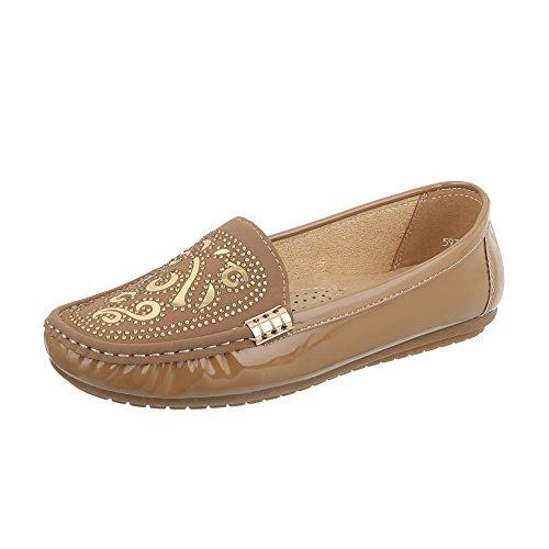 Ital-Design Chaussures Femme Mocassins Plat Mocassins bronzage 593