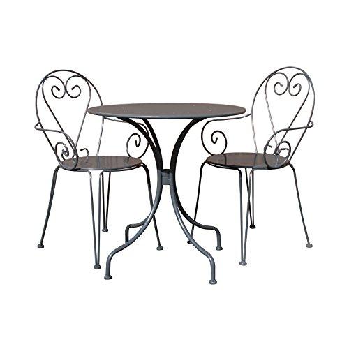 Bentley Garden - Bistro-Set für den Garten - Tisch & 2 Stühle mit Herz-Motiv - Stahl - Shabby Chic - Cremefarben oder Grau - Grau