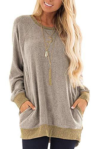 Damen Langarmshirt Casual Sweatshirt Farbblock T-Shirt Rundhals Blusen Top Pullover Oberteile mit Taschen (252-Khaki, Small)