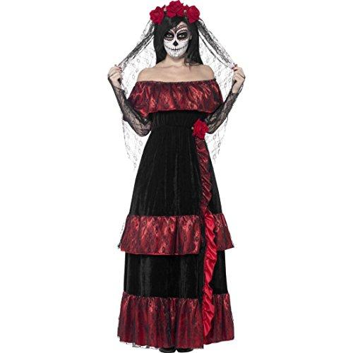 (Gothic Brautkleid Sugar Skull Kostüm XL 48/50 Dia de los Muertos Braut Tag der Toten Outfit Calavera Verkleidung Halloween La Catrina Damenkostüm)