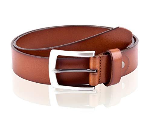 Massi Morino ® Herren Ledergürtel (3,5 cm breit) aus echtem Rindsleder | Vollledergürtel inkl. Geschenkbeutel (95, Braun) -