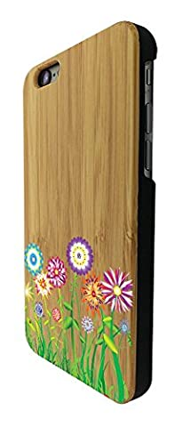 C0712 - Hippie Flower Patch Summer Spring Colourful (2) Design iphone 6 6S 4.7'' Coque Natural Véritable Bois Real Wood Coque