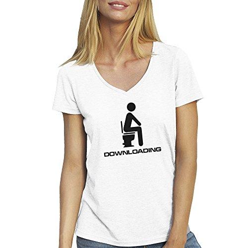 Programmer Downloading Funny WC T-Shirt maglietta collo a v per le donne Bianca