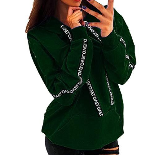 GOKOMO Plus Size Langarm Damen Solid Sweatshirt Kapuzenpullover Tops Shirt(Grün,Medium) -