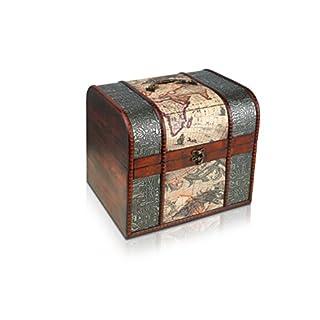 Brynnberg Boîte de Rangement THUNDERDOG | Coffre de Pirate Fait Main en Bois et Métal | Malle Idéale pour Jouets, Souvenirs, Bijoux (A Grand 27x23x24cm)