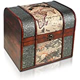 Pirate Treasure Chest Storage Box By Thunderdog - Durable Wood & Metal Construction - Unique, Handmade Vintage Design With A Front Lock - 27x24x25cm Size - Striking Decorative Element - The Best Gift