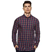 Amazon Brand - House & Shields Men's Checkered Regular fit Casual Shirt (SS20-H&SCSRE-02_Navy&Red XL)