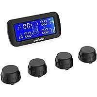 CACAGOO TPMS Monitor de Presión Neumáticos Ruedas Sistema Inalámbrico con Gran Pantalla LCD Función de Alarma en tiempo real PSI BAR Unidades con 4 Sensores Externos