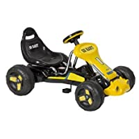 Heavy duty metal frame with high backed bucket seat, provides maximum safety and low-riding comfort;4 wheels;Black & yellow decals;Adjustable seat for all sizes of young drivers;Suitable for children aged 3 - 7 years