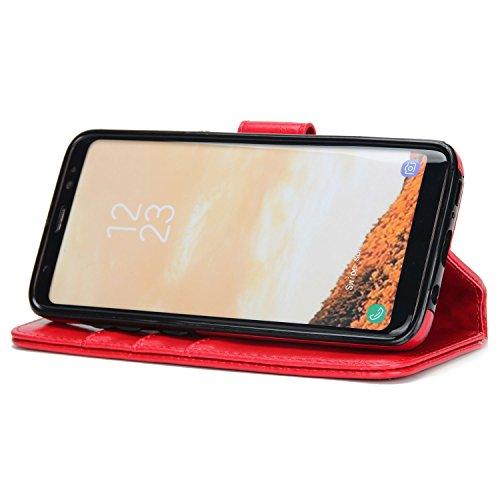 BCIT Samsung Galaxy S8 Leder Handytasche - Geldbörse mit Kartenfach abnehmbar Magnet Handy Schutzhülle für Samsung Galaxy S8 - Rot Rot