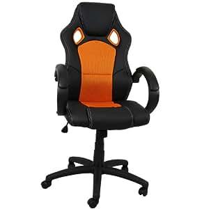 Premium Sportsitz Chefsessel Bürostuhl Racer schwarz/orange 59821