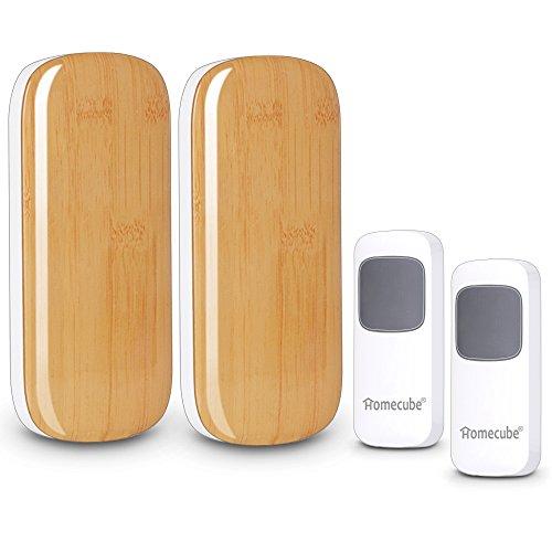 Campanello senza fili, Homecube portatile campanello 52 Chime / Oltre 984 Ft campo / 2 pulsanti con 2 plug-in Ricevitori 4 livelli di volume con indicatore LED