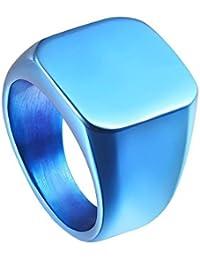 UM Joyería Hombres Acero inoxidable motorista Sello Clásico anillos engravable Pesado Pulido,Azul tono