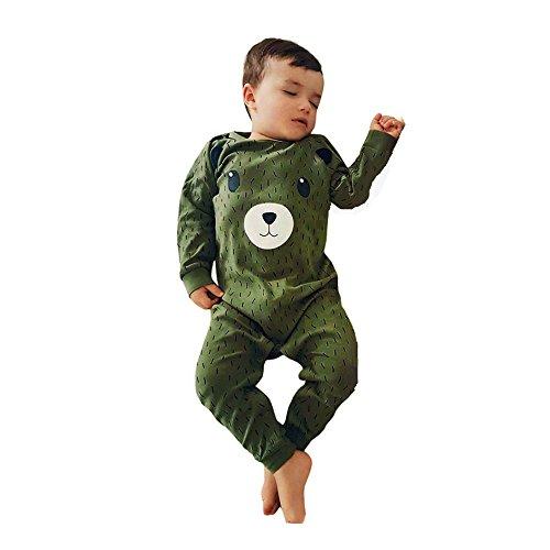 Nette Baby Strampler, ZIYOU Jungen Mädchen Kleidung Romper Tierdruck Overall (6M, Grün)